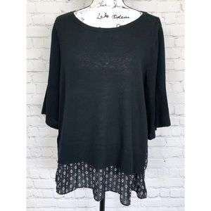 LOFT Black Bell 3:4 Sleeve Knit Top Blouse